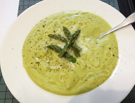 Asparagus Potato Soup with Sausage